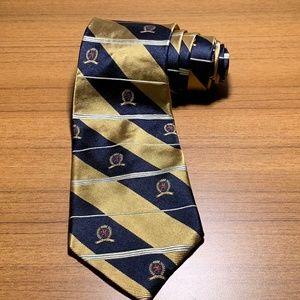 Tommy Hilfiger 100% Silk tie Navy/Gold Crest Logo